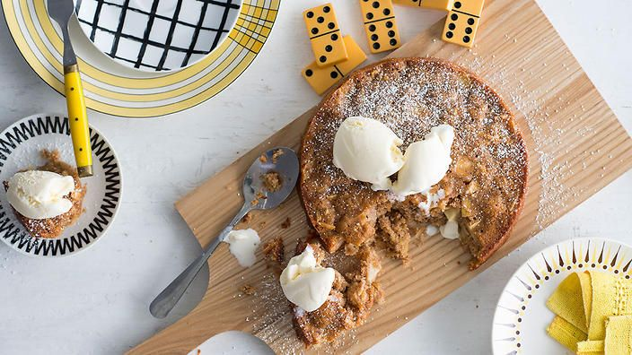 Norwegian apple pie (eplepai)   Much more like a cake than a pie, this well known traditional Norwegian dessert is comforting, homely and can warm the soul with just one mouthful – especially when served straight from the oven in generous scoops and topped with ice-cream or a large dollop of thick cream. Don't overlook the fact that it is also pretty good served like any other cake, cooled and in wedges.