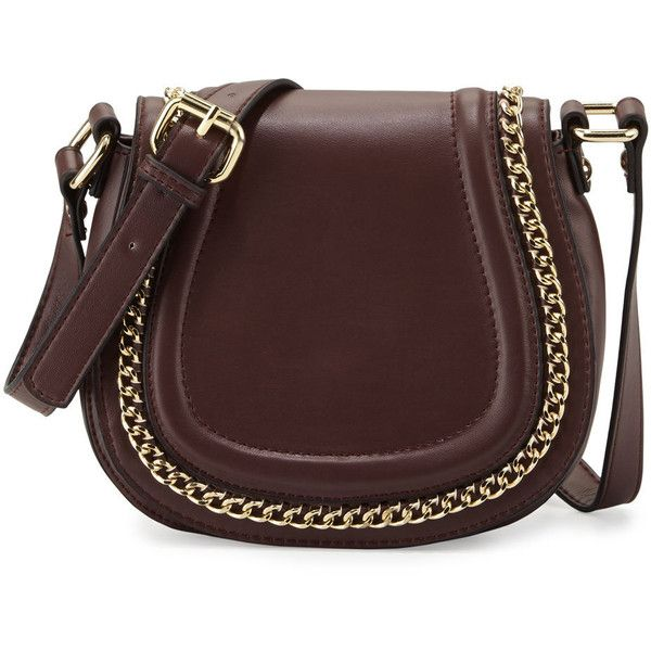 French Connection Alexa Chain-Trim Saddle Bag ($39) ❤ liked on Polyvore featuring bags, handbags, shoulder bags, coffee bea, zipper handbags, zip shoulder bag, french connection, french connection handbags and zipper purse