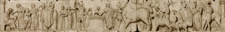 """Altar of Domitius Ahenobarbus known as the """"Census frieze"""". Marble, Roman artwork of the late 2nd century BC. From the Campo Marzio, Rome."""