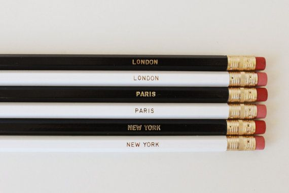 Places She'll Go Pencils. Set of 6. Black & White pencils with Gold Foil Text on Etsy, $12.00 AUD