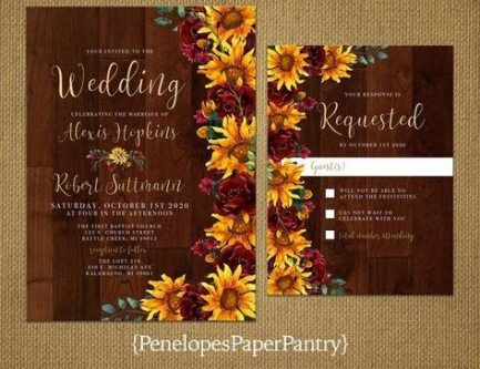 29 Trendy wedding sunflower invitations maroon