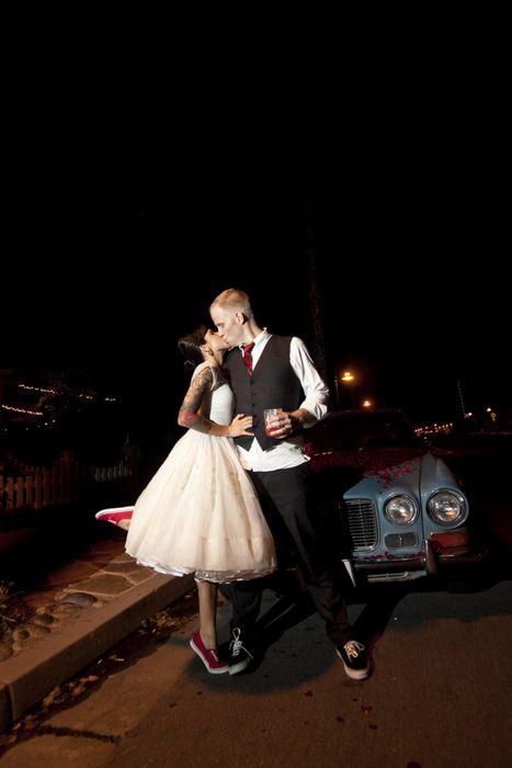 short peach dress, red vans, wedding
