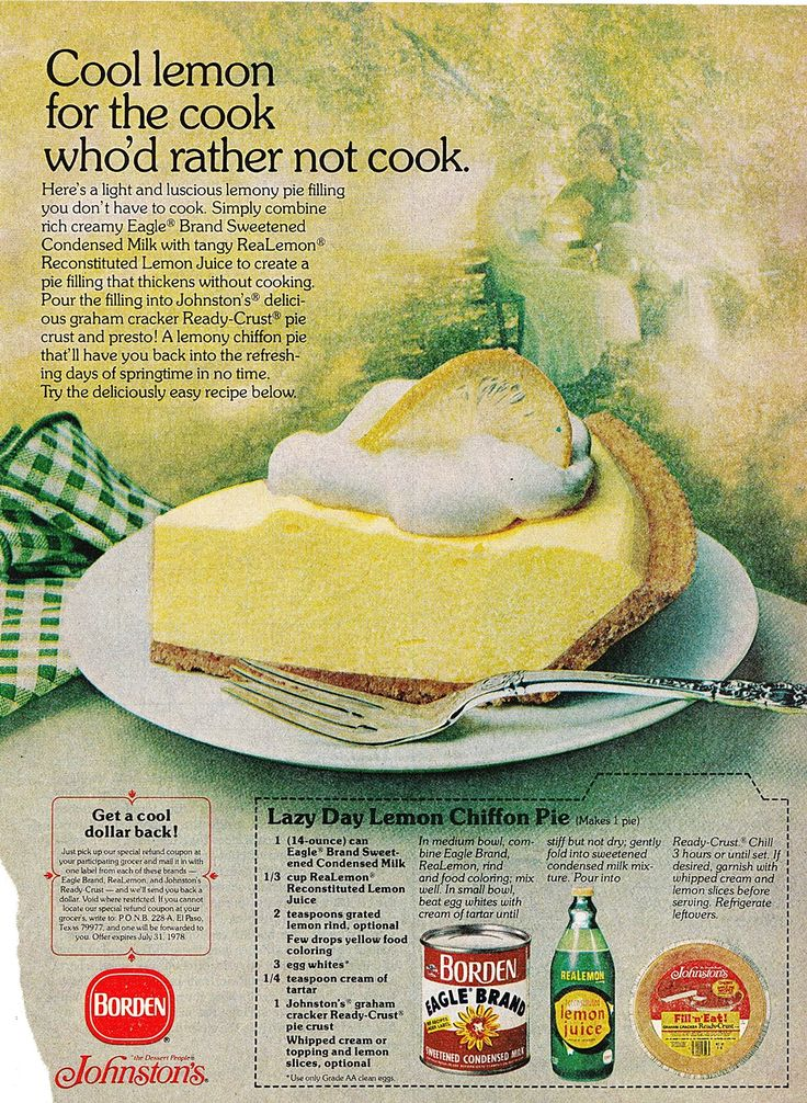 Lazy Day Lemon Chiffon Pie, Borden Eagle Brand Sweetened Condensed Milk, Realemon Lemon Juice, Johnston's graham cracker Ready-crust pie crust. Better Homes and Gardens, May 1978