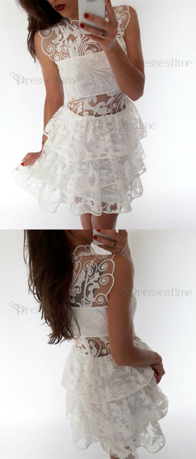 Lace short prom dresses white homecoming dresses simple fall