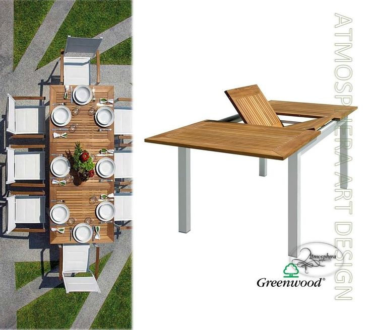Tavolo da giardino allungabile 150/210 ajaccio in alluminio e legno di teak