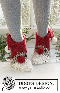 "Sneaky Santa - Crochet DROPS Christmas slippers in ""Eskimo"". Sizes for children and adult. - Free pattern by DROPS Design"