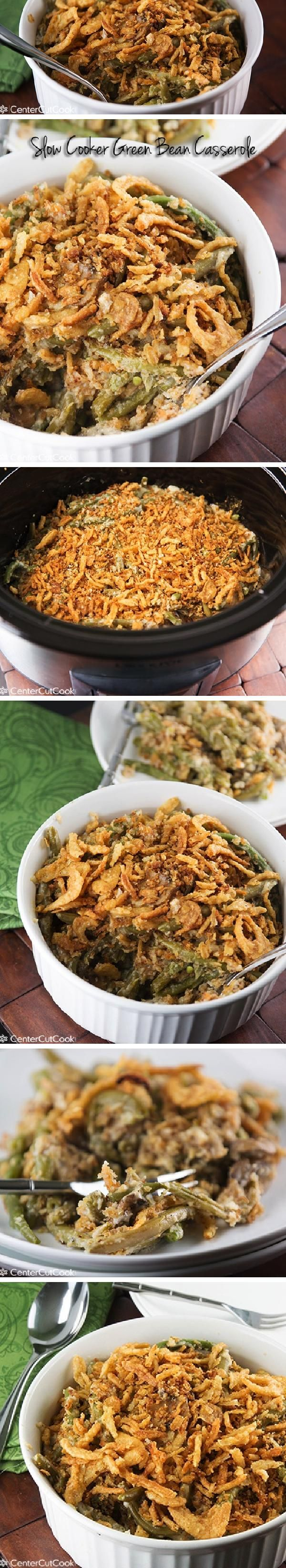SLOW COOKER GREEN BEAN CASSEROLE made from scratch with fresh or frozen beans, a homemade cream sauce (no cream soup!), cheese, and topped with French's French Fried Onions. This is the best Green Bean Casserole!