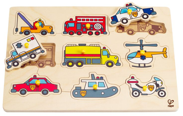 Emergency Vehicle Peg Puzzle - 9 piece. These nine helpful vehicles can cover any emergency kids can imagine. No sirens necessary!! Pictures under the pieces prompt the player where to place them. Finger sized pegs make picking up pieces a breeze. $17 at Kids Toys to You