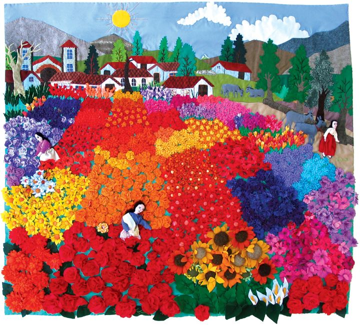 Large Flower Field Arpillera