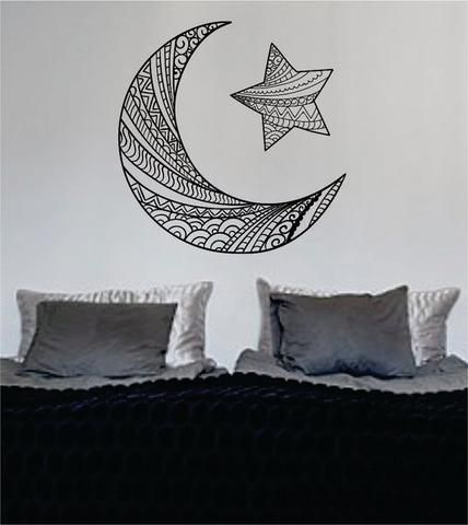 Moon and Star Version 2 Design Outer Space Decal Sticker Wall Vinyl Art Home Room Decor