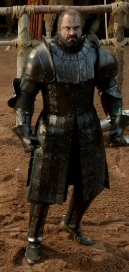 Gregor Clegane-The Mountain.  Bannerman to House Lannister.   Game of Thrones