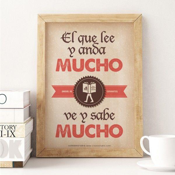 """Lámina con frase inspiradora de Miguel de Cervantes """"El que lee y anda mucho, ve y sabe mucho"""""""