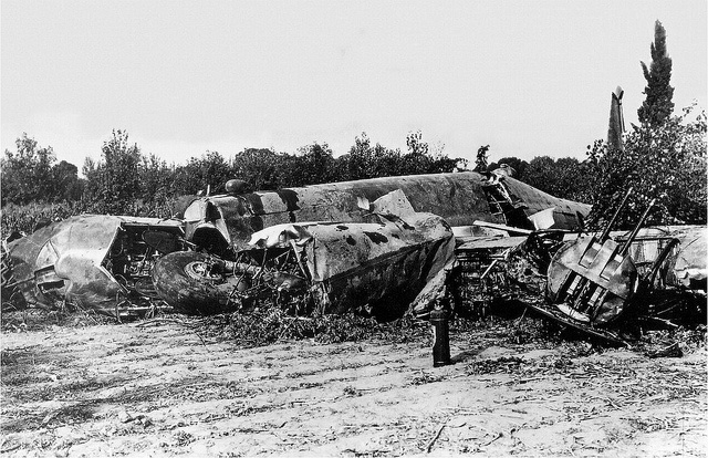 The crash of the Piaggio P.108B, MM22003, caused the death of Capt. Bruno Mussolini, Commander of the 274th Squadron, Pisa, 1 August 1941