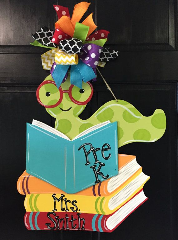 Bookworm Door Hanger Back to School Decor by DesignsAshleyNichole