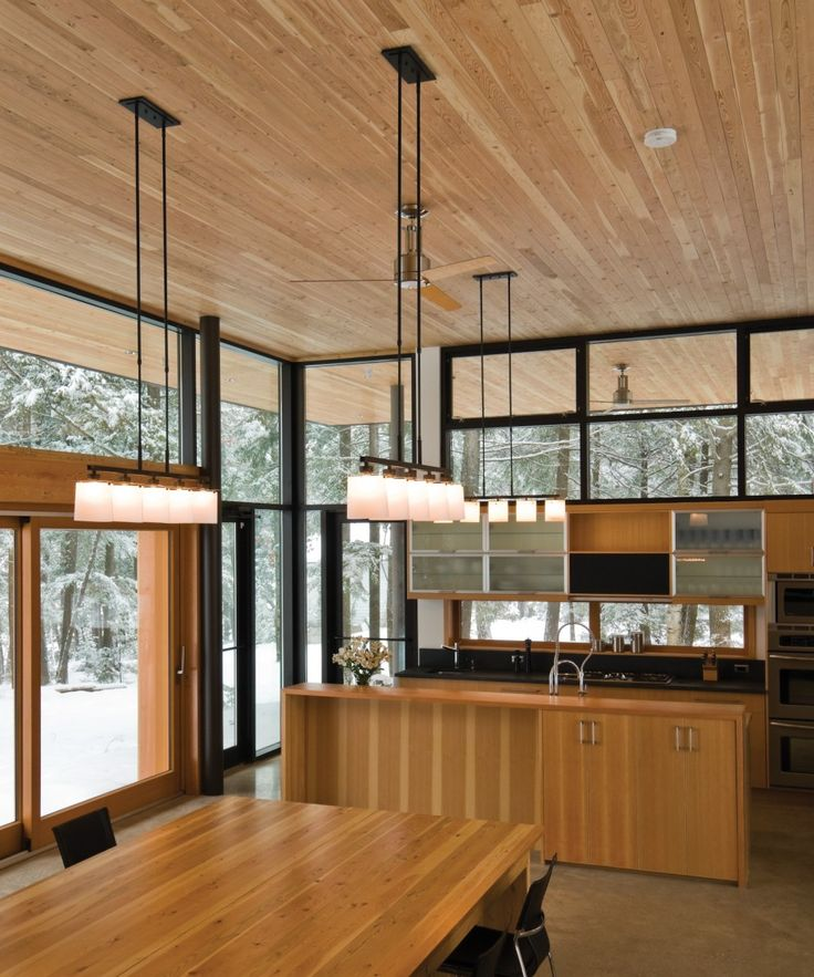 21 Impressive Cool Kitchen Island Design Ideas: Wood Ceiling Extending To The Exterior.