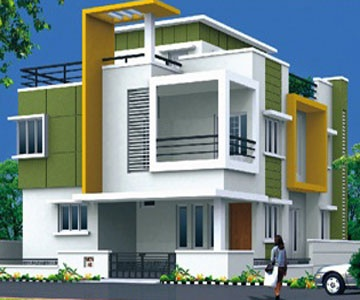 modern front with bold colour scheme indian home designindependent househouse - Homes Design In India