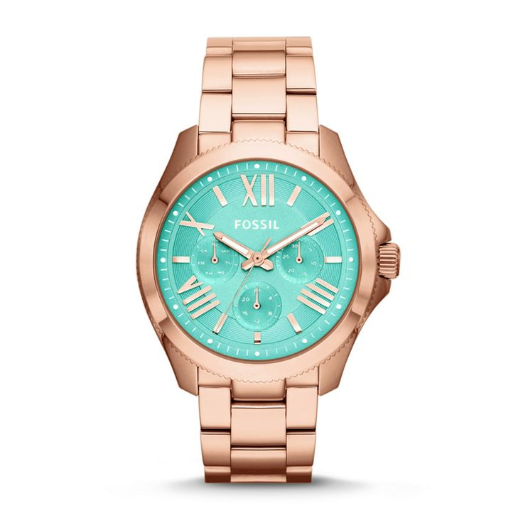 """Fossil Cecile Multifunction Stainless Steel Watch in Rosegold & Aqua {take $25 off & get free shipping on orders of $125+ w/ code """"SAVINGSTIME"""" thru 12/16 at Fossil}"""