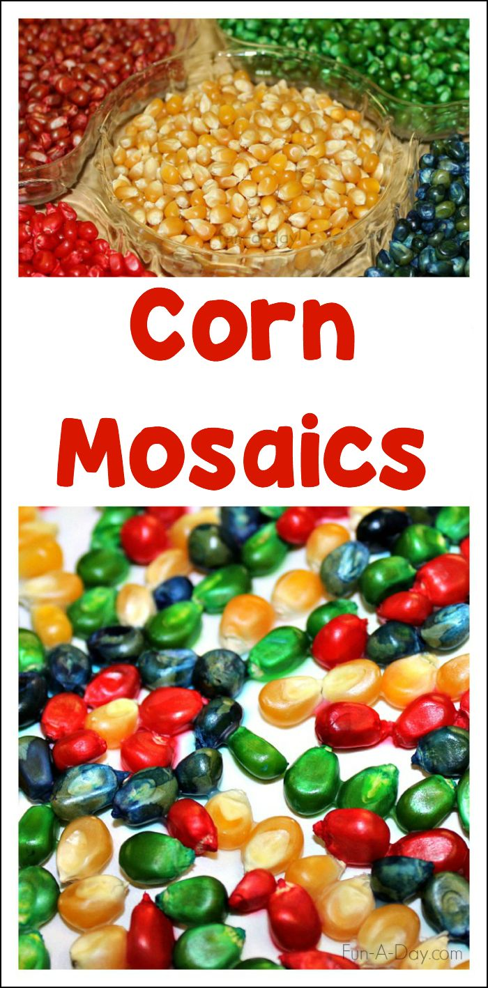 Use dyed corn kernels to create beautifully colorful corn mosaics in preschool! Great as a Thanksgiving art project, harvest craft, or just for fun!