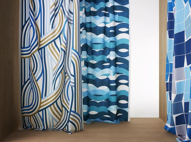 """Design Flow, Ocean and Focus in blue. """"Oftentimes, it is said that strong colours and shapes are too demanding in a room. I don´t agree at all. On the contrary, I think big; bold and colourful patterns are actually quite calm and comforting. They give a room a personality that serves as a great backdrop for people and pieces of furniture"""", says Carl Johan Hane #borascotton #carljohanhane #textile #tyger #offentligmiljö #interior #curtains #gardiner"""
