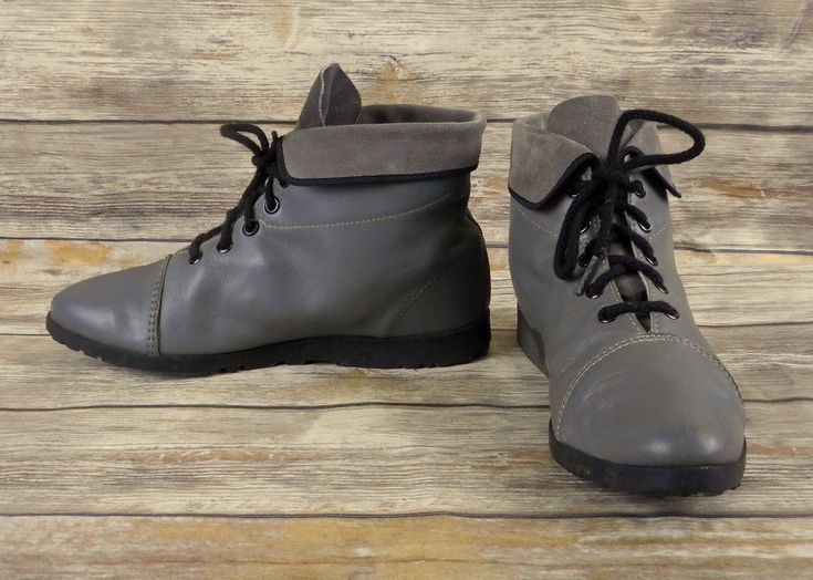 Connie Fashion Ankle Boots Grey Womens Size 8.5 M Retro 1980s TGI Footnotes VTG #Connie #AnkleBoots