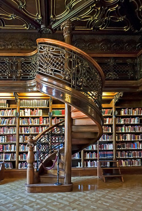 Choose the stairs or books, that is the question!!! Spiral Staircase, Library, Budapest, Hungary (photo via lucy).