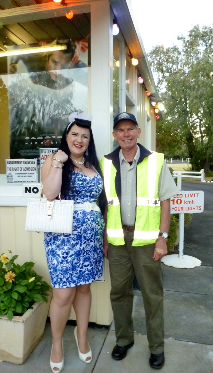 Miss Sapphire Sparkles & the drive in attendant.Busselton Drive In - November 2013