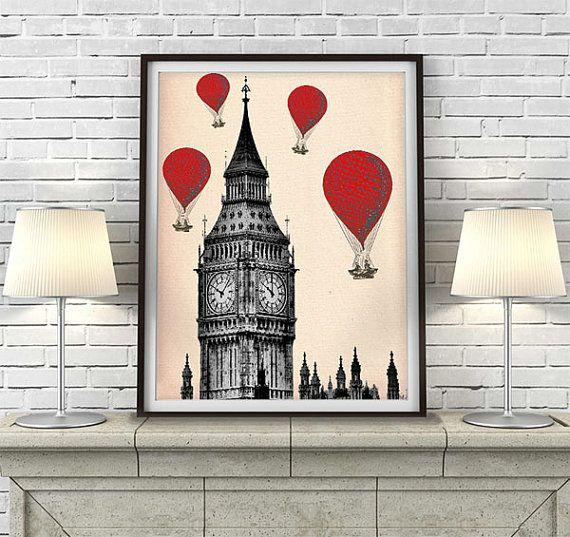 London print -  Big Ben & Red Hot Air Balloon Print - London wall art London room décor british décor London painting London poster