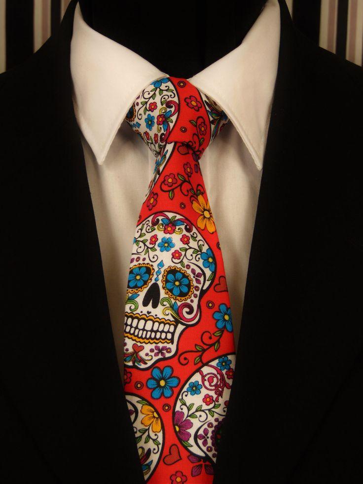 Red Skull Necktie, Red Skull Tie, Red Sugar Skull Tie, Sugar Skull Necktie, Candy Skull Necktie, Candy Skull Tie, Mens Necktie, Mens Tie by EdsNeckties on Etsy