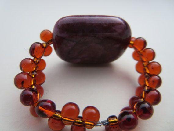 Purple Red Agate Gemstone Ring Agate Beaded by KBrownJewellery, £12.00