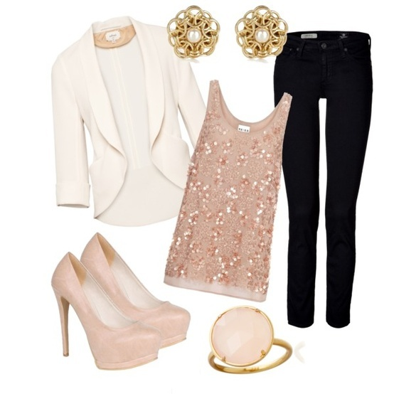 White blazer and sparkly top.