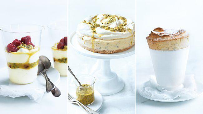 Donna Hay's Passionfruit Desserts Passionfruit and Coconut Ice-Cream Cake Passionfruit and Lime Soufflés Passionfruit and Yoghurt Parfaits #donnahay #parfaitperfection