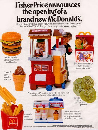 """I forget which one of my friends had this. I didn't have it, but I thought it was a cool toy and had fun playing with it as a toddler/kid. Part of me now thinks, """"Why have kids aspire to be fast food workers?"""", but really it's fun because it relates to a recognizable part of our culture. Imaginative play, pre symbolic thinking. And I didn't grow up to work at McDonalds..."""