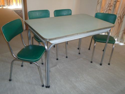 1950s Retro Laminex And Chrome Kitchen Table Chairs In