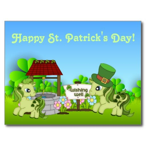 Cute Happy St. Patrick's Day Horse Postcard