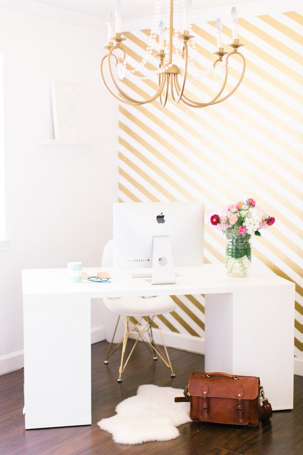 metallic gold striped wall | Ever and Anon
