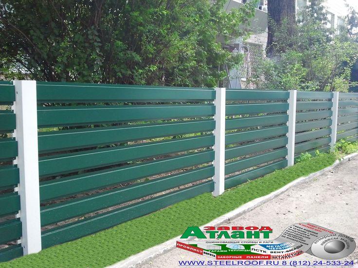 Горизонтальный забор из металлической доски длинной до 12 метров #17