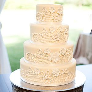 White Wedding Cakes | Sugar Embroidery Cake | SouthernLiving.com
