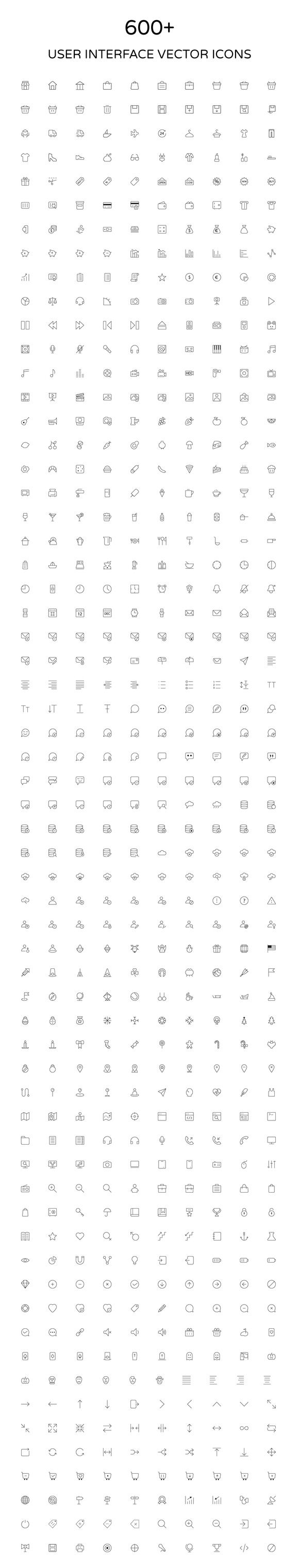 User Interface Outline Vector Icons by Creative Stall on @creativemarket