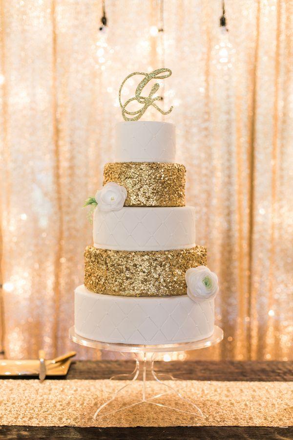 gold glitter wedding cake   Amanda Watson