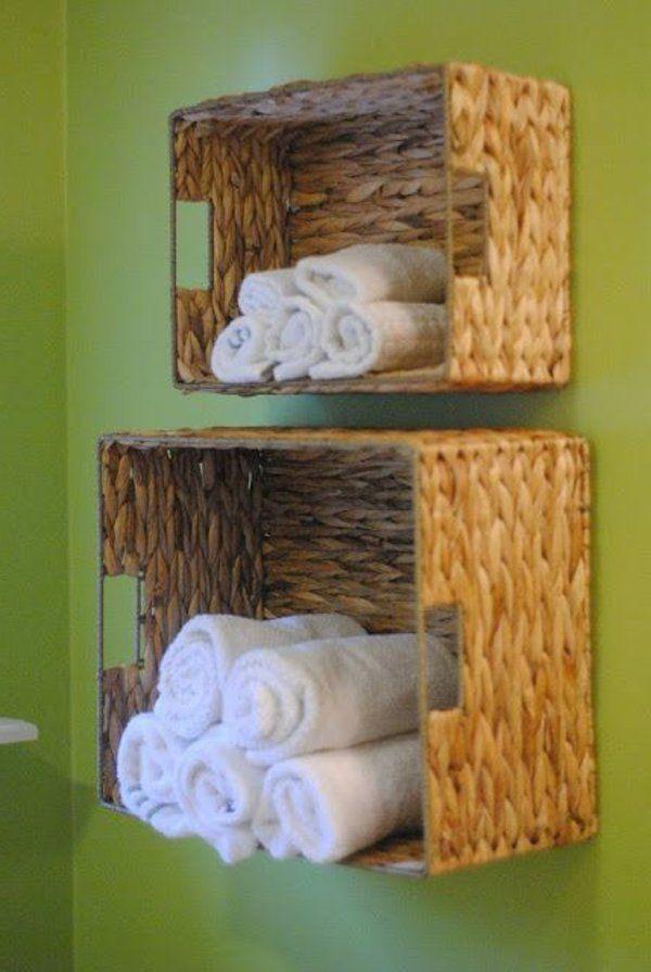 Geflochtene Boxen als Regal selbst gestalten – tolle Idee für ein kleines Bad … #boxen #geflochtene #gestalten #kleines #regal #selbst #tolle