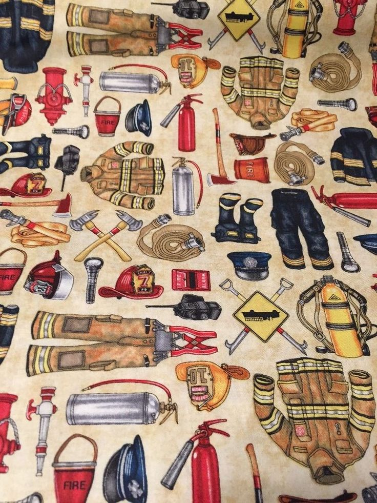 Firefighter 5 Alarm100% cotton fabric by yard stone firefighter fire equipment #QuiltingTreasures