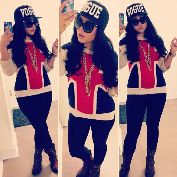 Olivia's OOTD: sweater from Forever21, hat from Patricia Field, sunglasses from Dolce and Gabbana. #Jerseylicious