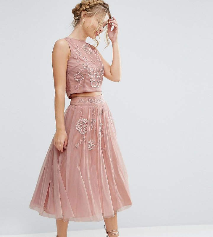 co lace and beads lace beads tulle skirt with floral