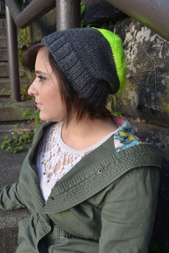 Slouchy Knit Beanie by JamienationCrochet on Etsy