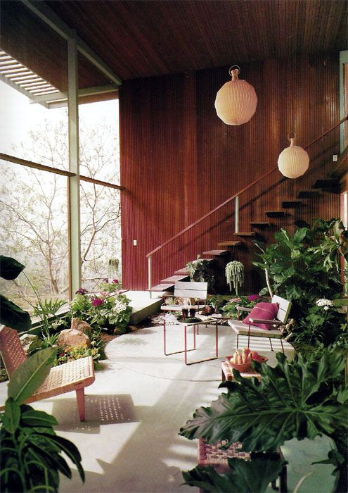 : Interior, Living Room, Mid Century, Indoor Garden, House, Space, Sun Room, Sunroom