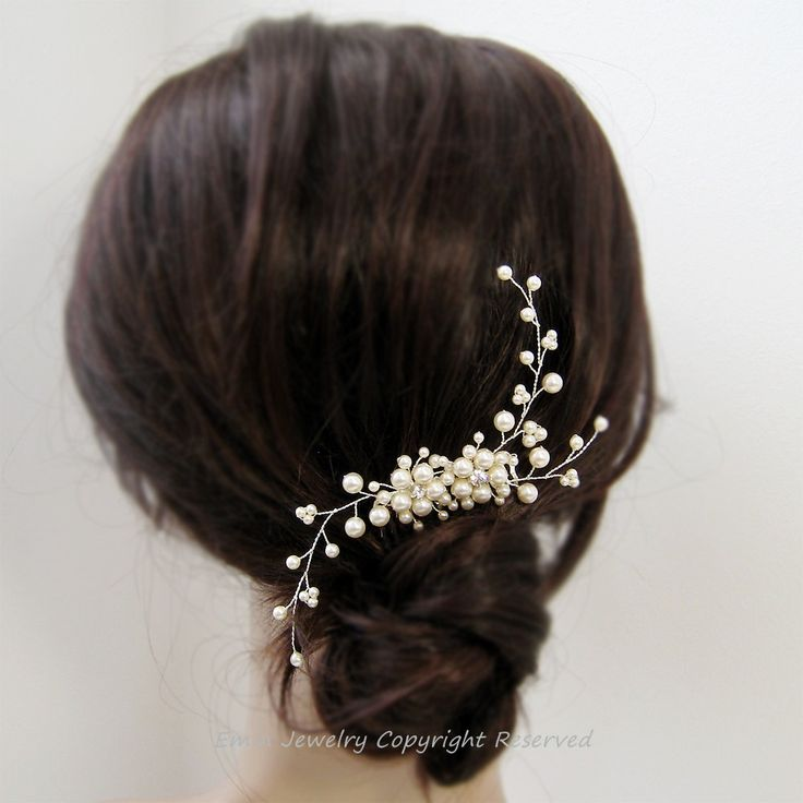 Ivory Pearl Rhinestone Fl Vine Bridal Hair Comb Wedding Jewelry Bridesmaid Bride