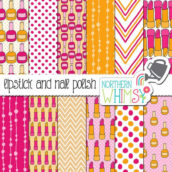 Makeup Digital Paper - hot pink and orange seamless lipstick & nail polish patterns - neon scrapbook paper- printable paper - commercial use