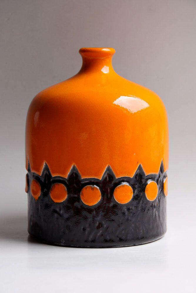 Vintage West German Orange Vase - Jasba