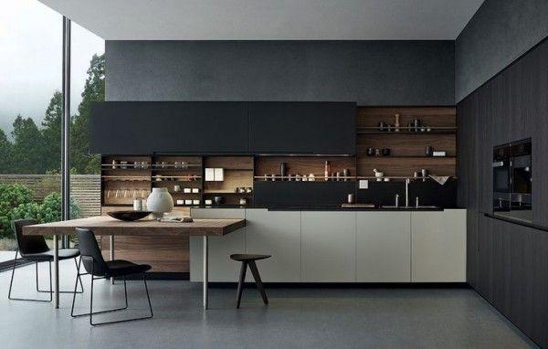 Cuisine moderne noire & bois