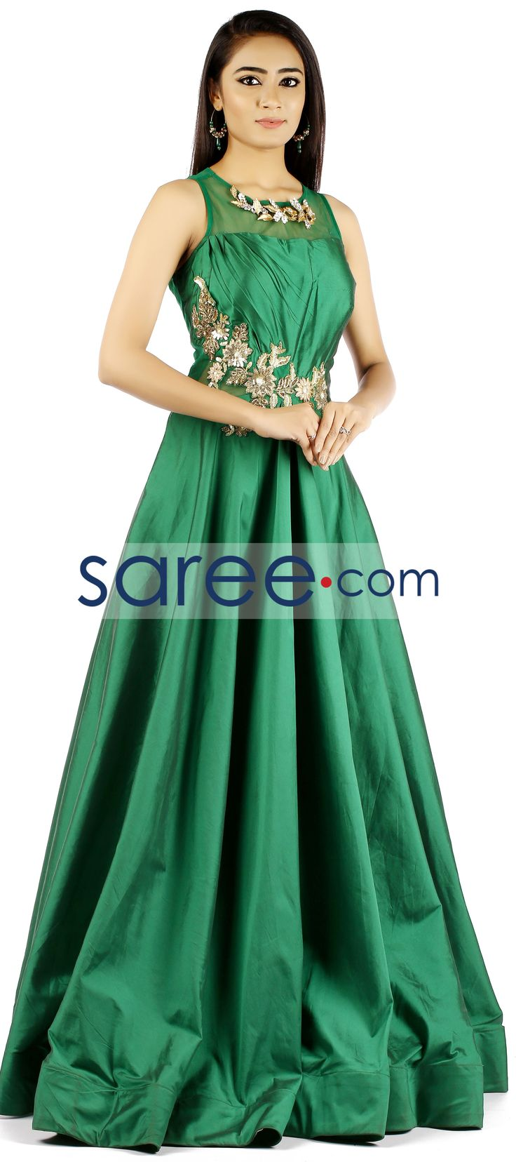 GREEN SILK GOWN WITH STONE WORK   #Gown #PartywearGown #ReceptionGown #IndoWestern #IndoWesternGown